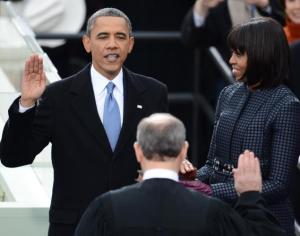 President Barack Obama takes the oath during the 57th Presidential Inauguration on Jan. 21, 2013. Photo courtesy of http://nydailynews.com and credits to Emmanuel Dunand/Getty images.