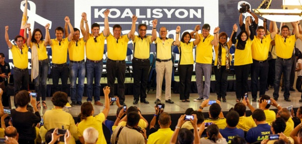 "Liberal Party (LP) chairman President Benigno S. Aquino III raises the hands of the administration senate slate for the 2016 national elections during the Koalisyon ng Daang Matuwid: Ang Pagpapakilala at the Sala B of the Balay Expo Centro Building in EDSA corner McArthur Avenue, Araneta Center, Cubao, Quezon City on Monday (October 12, 2015). The 12 senatorial bets includes COOP NATCCO party-list Representative Cresente Paez; Philippine Health Insurance Corporation (PhilHealth) director and former Akbayan party-list Representative Ana Theresia ""Risa"" Hontiveros-Baraquel; former Technical Education and Skills Development Authority (TESDA) Director General Emmanuel ""Joel"" Villanueva; former Energy Secretary Jericho Petilla; Senator Ralph Recto; Senate President Franklin Drilon; former Senator and former food security czar Francis ""Kiko"" Pangilinan; former Justice Secretary Leila de Lima; Interior and Local Government Assistant Secretary for Muslim Affairs and Special Concerns Nariman Ambolodto; Senator Teofisto ""TG"" Guingona III; and Tourism Infrastructure and Enterprise Zone Authority (TIEZA) general manger and chief operating officer Mark Lapid. Also in photo are LP Presidential Candidate former DILG Secretary Manuel ""Mar"" Roxas II; and LP Vice Presidential Candidate Camarines Sur 3rd District Representative Maria Leonor ""Leni"" Robredo. (Photo by Joseph Vidal / Malacañang Photo Bureau)"